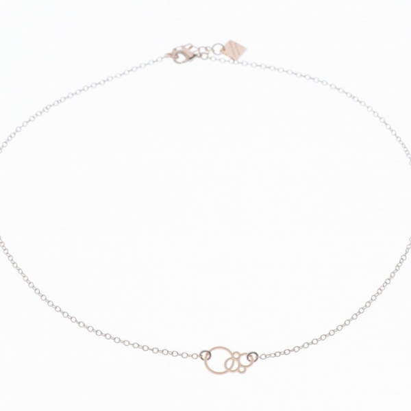 Collier bulles or rose